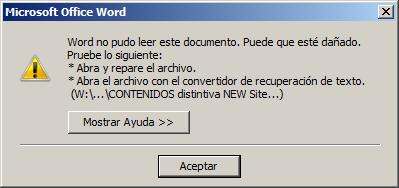 word no puede, abra y reparelo